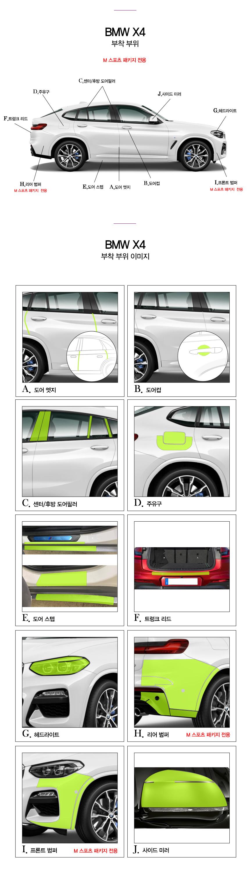 BMW X4 2019 PPF 필름 패키지 10종세트 - 폰트리 힐링쉴드, 544,500원, 자동차용품, 기타용품